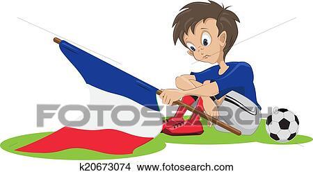 Traurig Frankreich Fussballfan Clipart