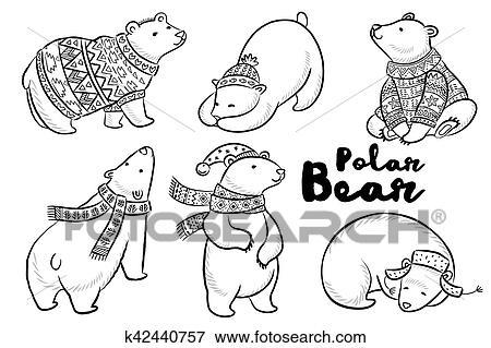 Clip Art - vector, contorno, conjunto, con, osos polares k42440757 ...