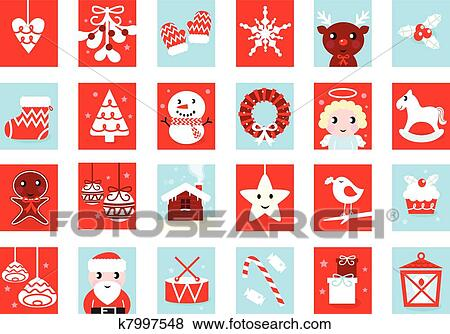 Retro Weihnachtsbilder.Advent Calendar Retro Christmas Icons Isolated On White Clip Art