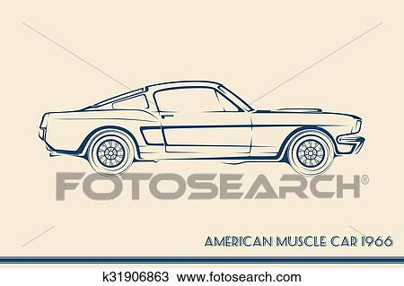 Clipart Of American Muscle Car Silhouette 60s K31906863 Search