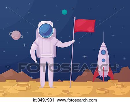 Astronauta superficie lunare cartone animato icona clipart