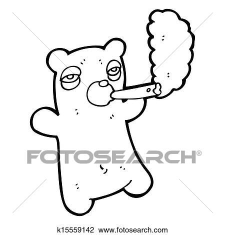 Cartoon Bear Smoking Marijuana Drawing K15559142 Fotosearch