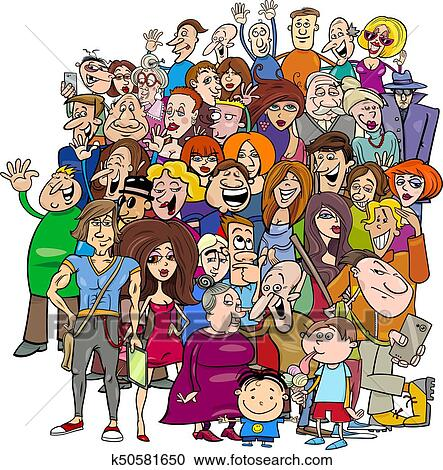 Cartoon people group in the crowd Clipart | k50581650 ...