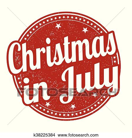 Christmas In July Clipart.Christmas In July Stamp Clipart