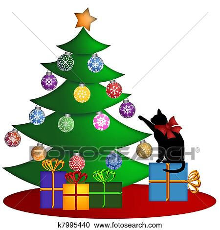 Christmas Tree With Presents Ornaments And Cat Clipart K7995440