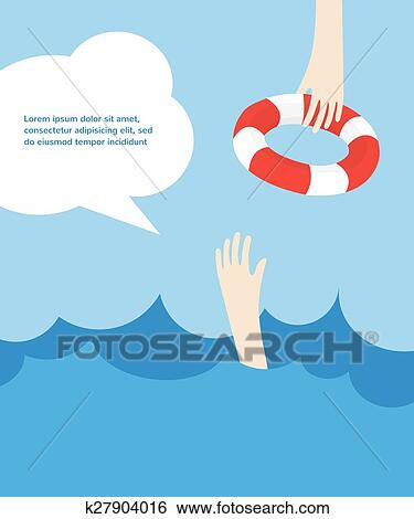 clip art of drowning man screaming for help summer danger k27904016 rh fotosearch com drowning cartoon images drowning cartoon images