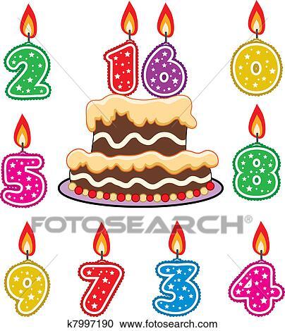 Clipart Geburtstag Kerzen Und Schokotorte K7997190 Suche Clip