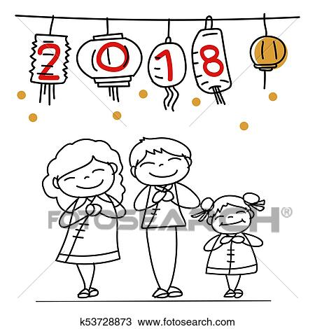 hand drawing cartoon character chinese people family and kids happy chinese new year 2018 moon year lunar year concept line art for coloring