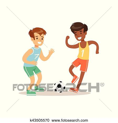 Clipart - niños, jugar al balompié, niño, practicar, diferente ...