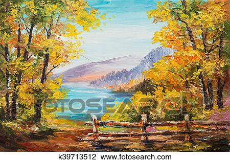 Pintura Oleo Paisagem Coloridos Floresta Outono Lago