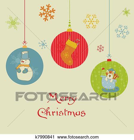 Retro Christmas Balls Card For Scrapbook Design