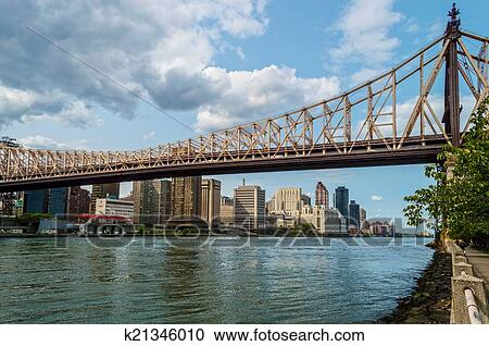 A View Of The Ed Koch Queensboro Bridge As Seen From East River On Roosevelt Island