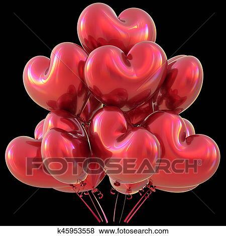 Rouges Fête Coeur Ballons Joyeux Anniversaire Amour événement Décoration Banque D Illustrations