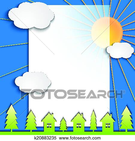Clipart Vettore Estratto Carta Collage Illustrazione Con