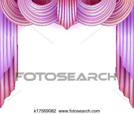 Clipart Vorhang Mit A Weißer Hintergrund Hinter K17569082