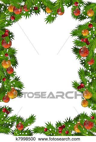 Clipart Weihnachten Rahmen Mit Tannenzweige Und Gold Und