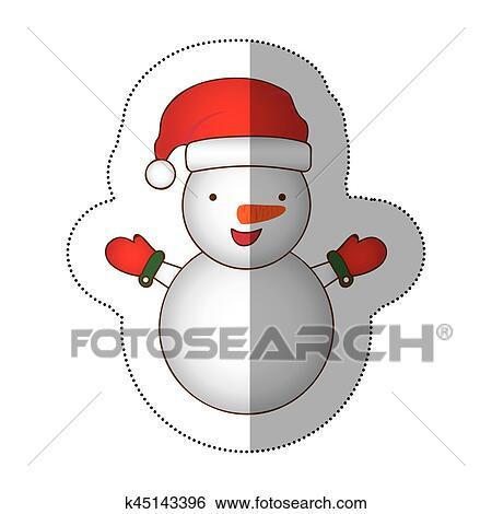 Adesivo Coloridos Silueta Caricatura Boneco Neve Natal