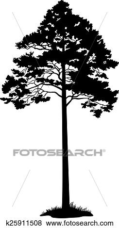 clipart arbre pin noir silhouette k25911508. Black Bedroom Furniture Sets. Home Design Ideas