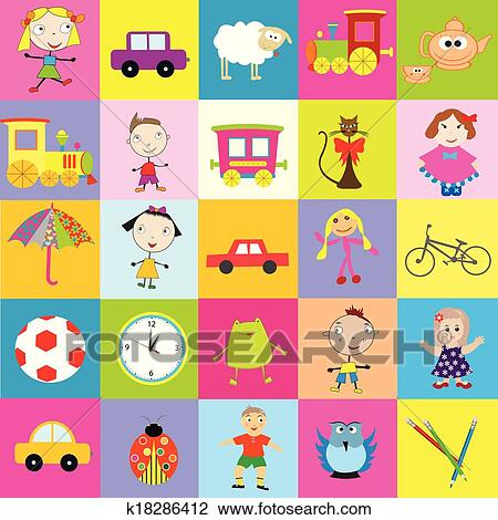 Clipart Of Background For Kids With Toys K18286412 Search Clip Art