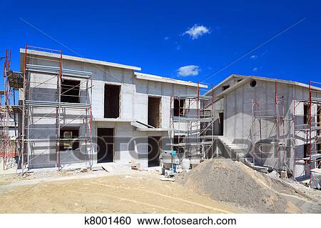 two story balcony Building Of New Two Story White Concrete House With Stairs