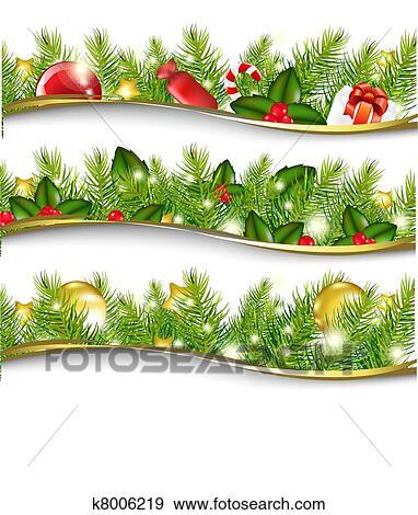 Christmas Garlands.Christmas Garland Set Clip Art