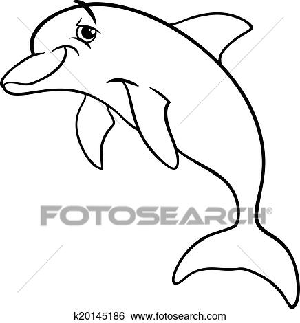 Clip Art of dolphin animal cartoon coloring book k20145186 - Search ...