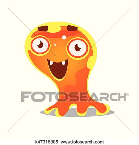 Funny Cartoon Friendly Slimy Monster Cute Bright Jelly Character Vector Illustration Clipart K47316885 Fotosearch