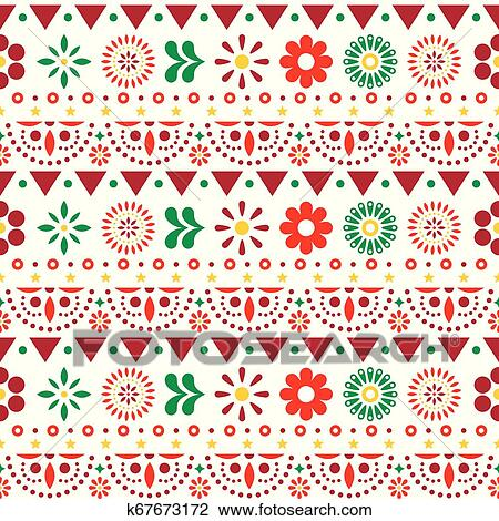 Mexican Seamless Vector Pattern With Flowers And Abstract