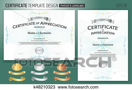 Clipart Of Set Of Certificate Of Appreciation Template With Award