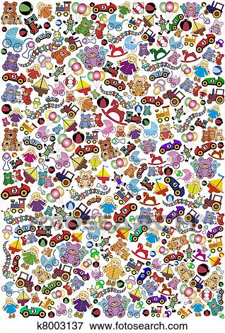 Clip Art Of Toys Background K8003137 Search Clipart Illustration