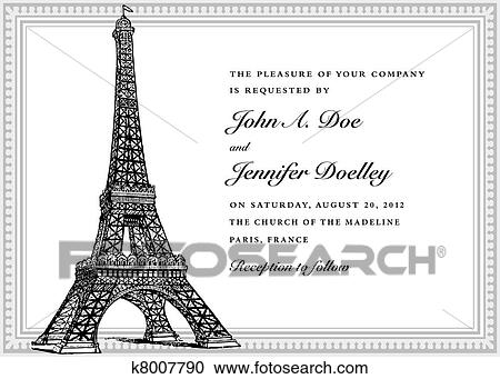 Clipart of vector eiffel tower wedding invitation k8007790 search clipart vector eiffel tower wedding invitation fotosearch search clip art illustration murals thecheapjerseys Gallery