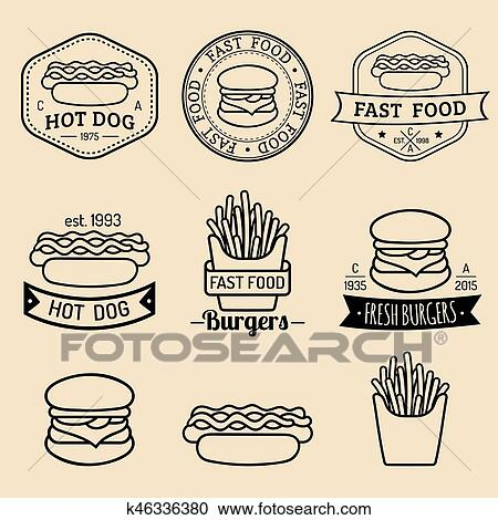 Clipart of Vector vintage fast food logos set. Retro eating signs ...