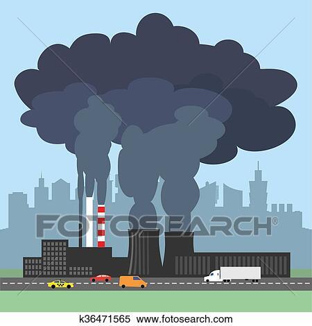 概念 イラスト 提示 汚される 煙 から 工場 イラスト