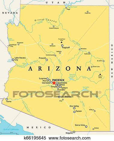 Arizona, United States, political map Clipart