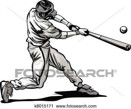 clipart of baseball batter hitting pitch vecto k8015171 search rh fotosearch com clipart baseball player clip art baseball player silhouette