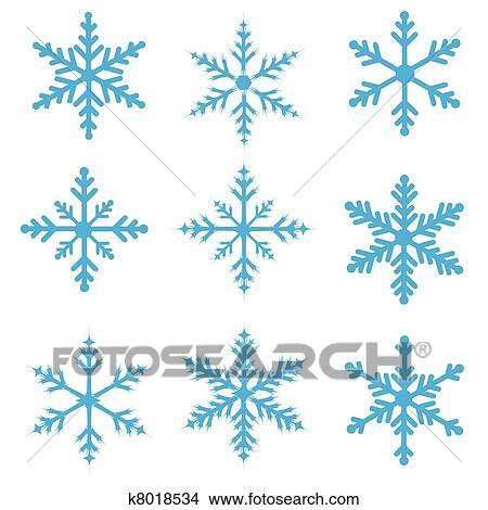 Clipart bleu flocons neige k8018534 recherchez des - Dessins flocons de neige ...