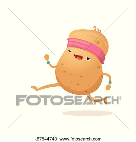 Cartoon Funky Potato Character Running Or Jogging Isolated On White Background Cute Sporty Vegetable Character Making Cardio Sport Exercise Fitness Cardio Concept Clipart K67544743 Fotosearch