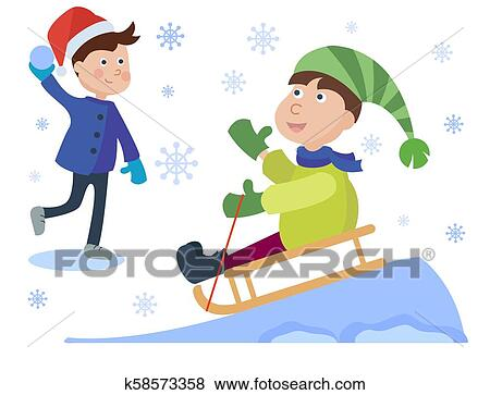 christmas kids playing winter games sledding boy children cartoon new year winter holiday background