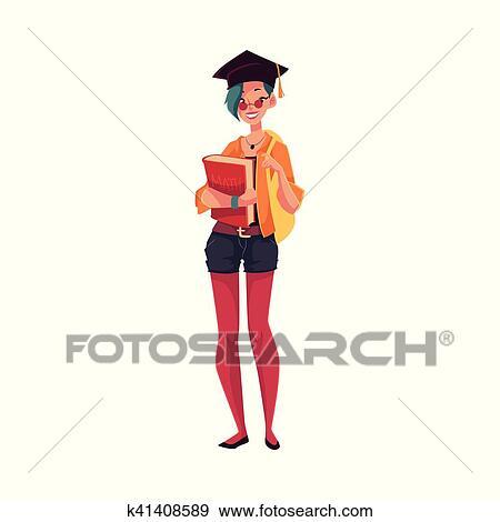clip art of college university student girl in graduation cap rh fotosearch com college classroom clipart college student clip art images