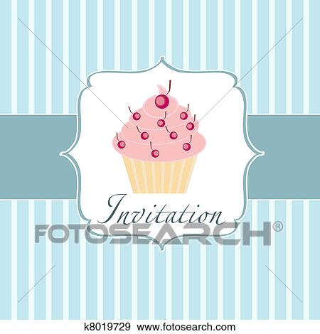 clip art of cupcake invitation background k8019729 search clipart