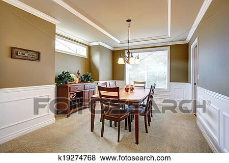 Picture   Dining Room With White Wall Trim. Fotosearch   Search Stock  Photos, Images