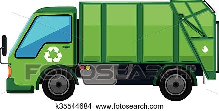clipart of garbage truck in green color k35544684 search clip art rh fotosearch com garbage truck clipart Garbage Truck Clip Art Black and White