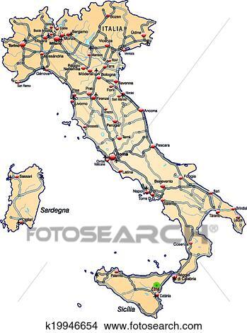 Italia Cartina Autostradale.Mappa Italia Clipart K19946654 Fotosearch