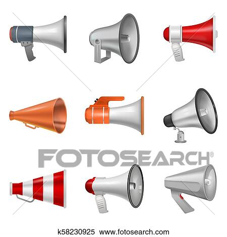 megaphone vector bullhorn loudspeaker or announce and loud voice in speaker or announcement in horn illustration isolated on white background clipart k58230925 fotosearch fotosearch