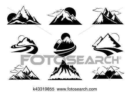 Clipart - montañas, siluetas, vector, illustration., montaña ...