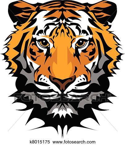 clipart of tiger head vector graphic mascot k8015175 search clip rh fotosearch com roaring tiger head clipart tiger head clipart free