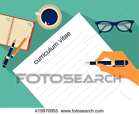Clipart Of Business Background With Resume Vector K19970955