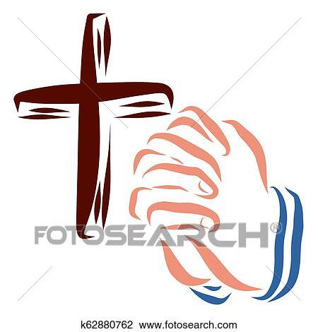Crucifixos E Maos De Um Pessoa Orando Fe E Conversacao