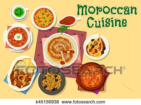 Clipart cuisine marocaine traditionnel plats ic ne - Maroc cuisine traditionnel ...