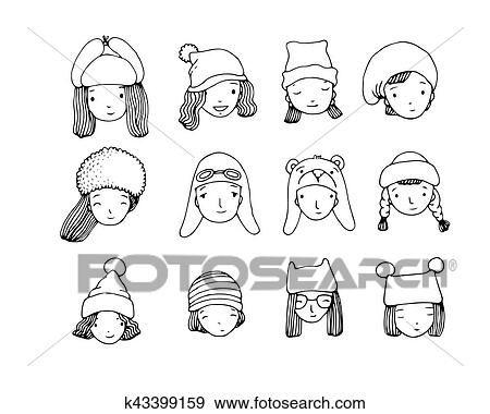 1f869d7b46d Different faces. People in winter hats. Hand drawing isolated objects on white  background. Vector illustration.